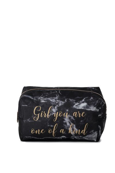 Made Up Cosmetic Bag, BLACK MARBLE