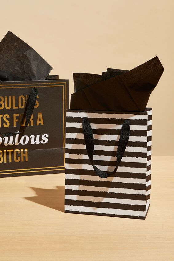 Small Gift Bag with Tissue Paper, BLACK STRIPE