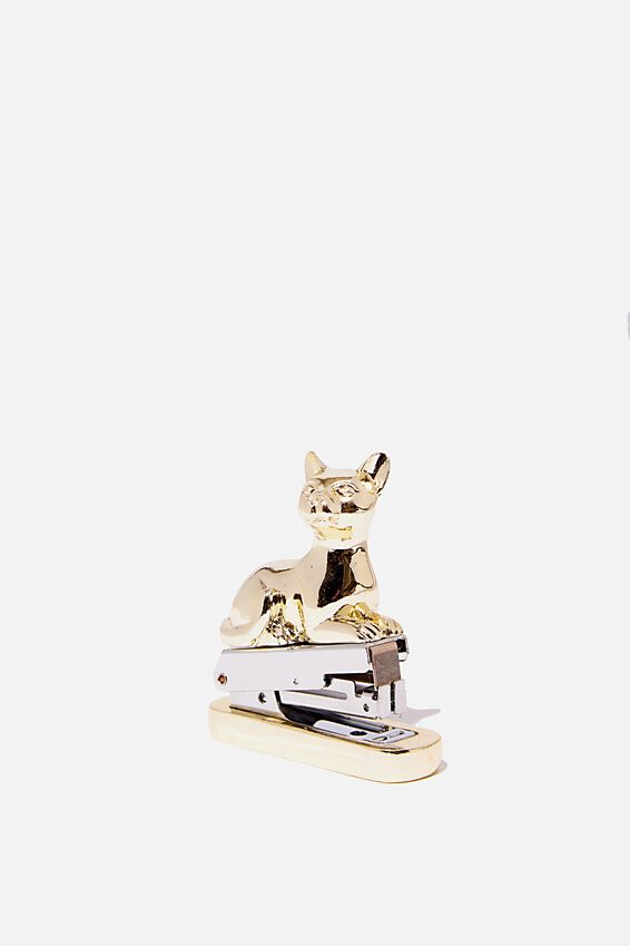 Shaped Mini Stapler, GOLD CAT