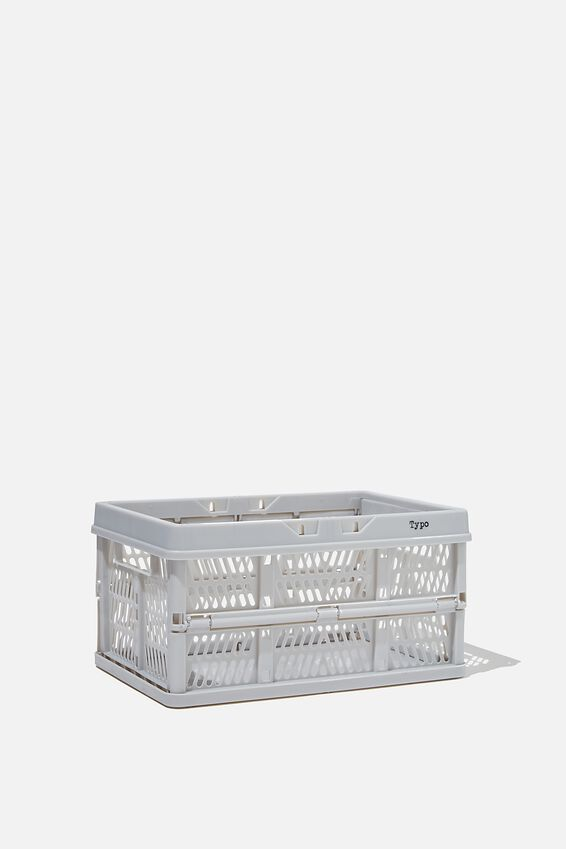 Small Foldable Storage Crate, COOL GREY