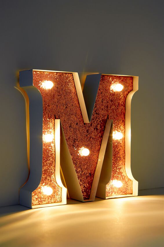 Marquee Letter Lights Premium 16cm Midi, WHITE WITH ROSE GOLD M
