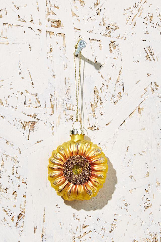 Small Glass Christmas Ornament, SUNFLOWER