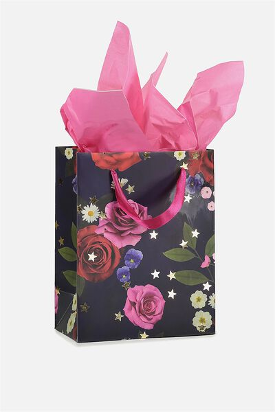 Stuff It Gift Bag Small With Tissue Paper, NAVY FLORAL