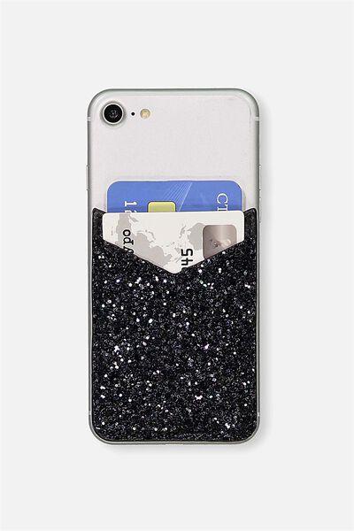 Phone Card Holder Sticker, BLACK GLITTER