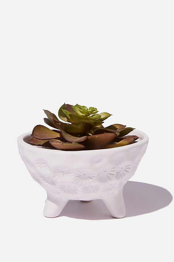 Small Shaped Planter, WHITE TEXTURED