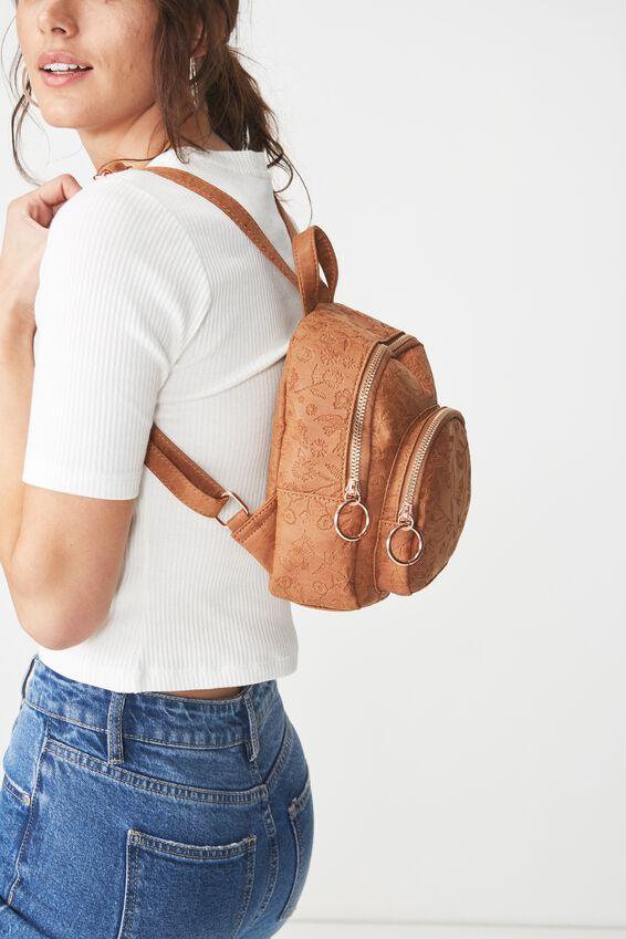 Mini Madrid Backpack, MID TAN FLORAL