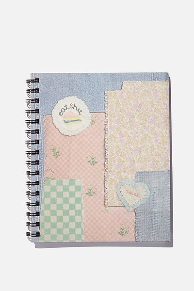 A5 Campus Notebook Recycled, EMBROIDERED PATCH PRINT!