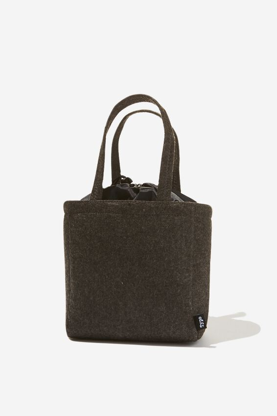 Double Handle Lunch Bag, CHARCOAL FELT