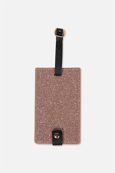 Core Luggage Tag, ROSE GOLD GLITTER