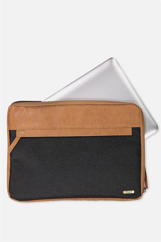 """Premium Laptop Case 13"""", BLACK & MID TAN"""