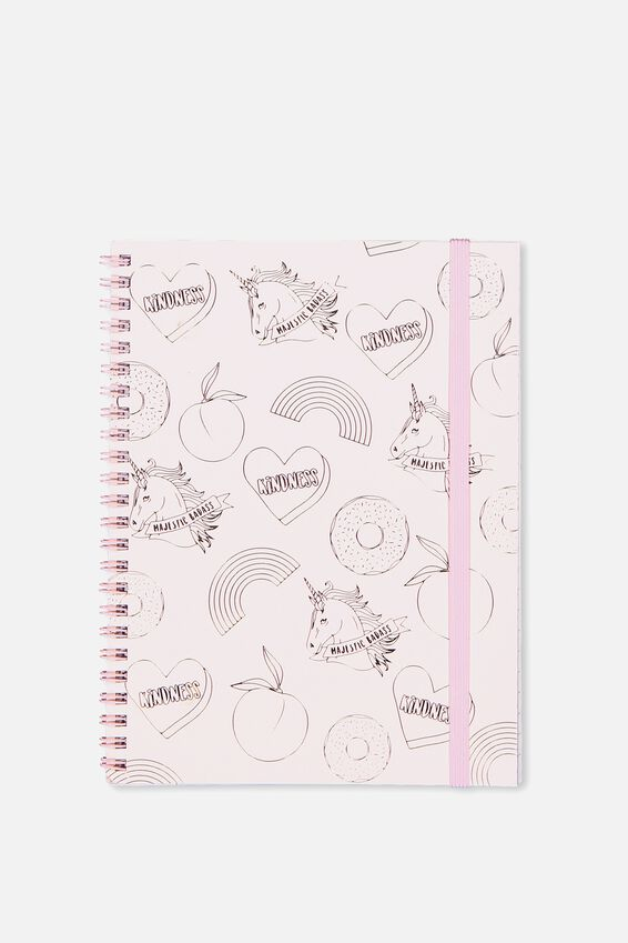 Small Spinout Notebook - V, PINK UNICORN PATCHES