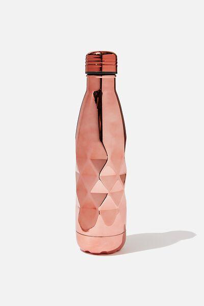 Premium Metal Drink Bottle, ROSE GOLD FACETED