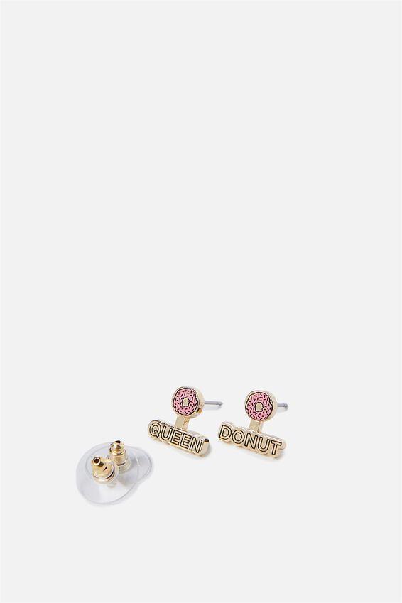 Novelty Earrings, DONUT QUEEN