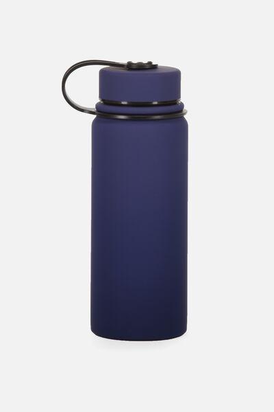 The Striker Metal Drink Bottle, NAVY RUBBERISED