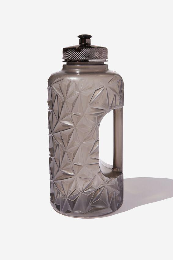 Faceted Drink Bottle, BLACK METALLIC