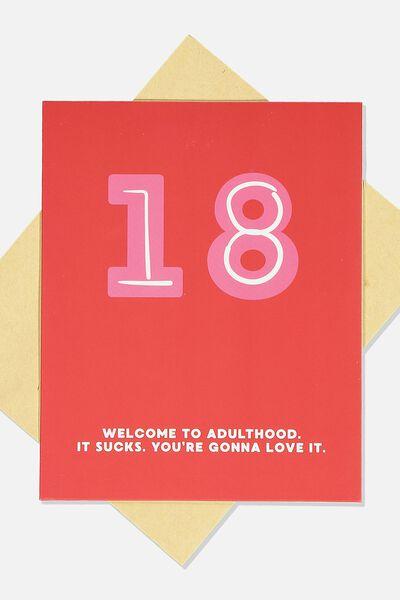 Age Card, 18TH ADULT SUCKS