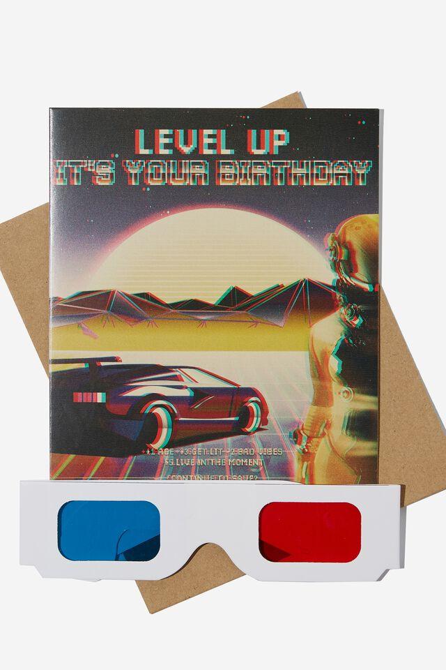 Premium Nice Birthday Card, 3D GLASSES LEVEL UP CAR