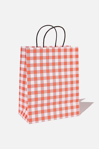 Get Stuffed Gift Bag - Medium, RED GINGHAM