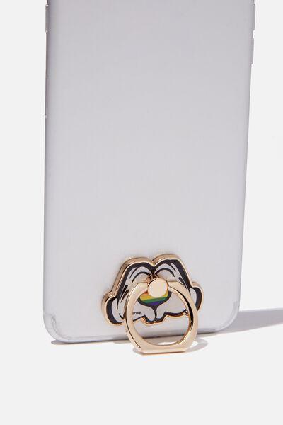 Licenced Metal Phone Ring, LCN DIS MICKEY PRIDE HANDS