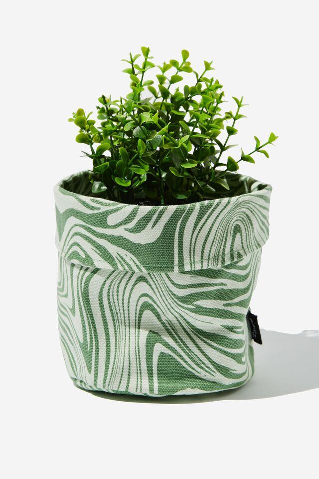 Canvas Planters, WARPED ZEBRA GREEN