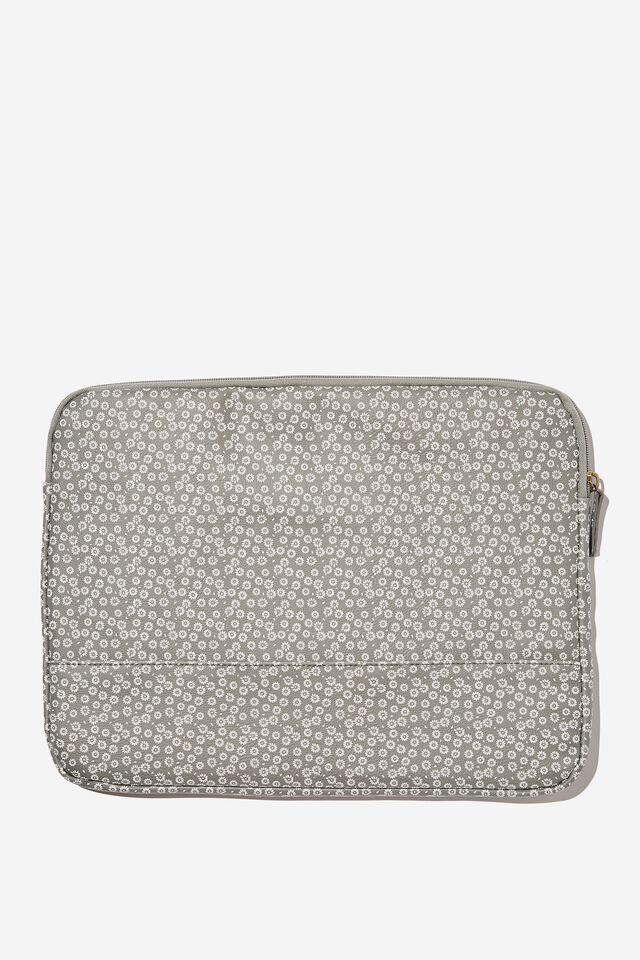 Take Me Away 15 Inch Laptop Case Pu, STAMPED DAISY GREYSCALE