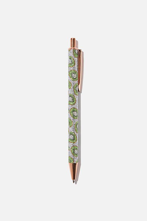 Printed Glitter Pen, SILVER KIWI