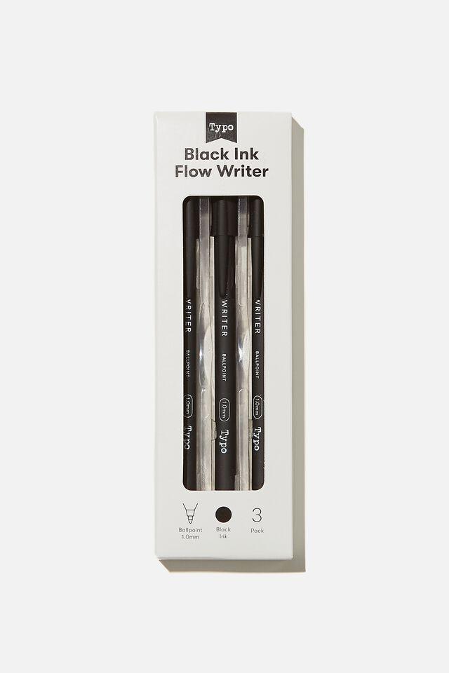 Black Ink Flow Writer 3Pk, BLACK