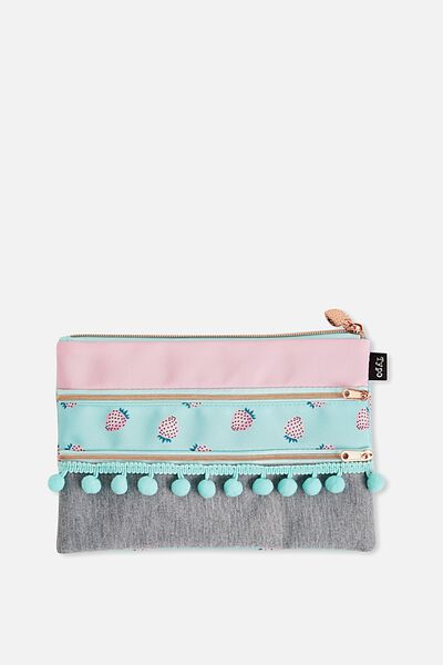 Double Archer Pencil Case, PINK STRAWBERRY GREY