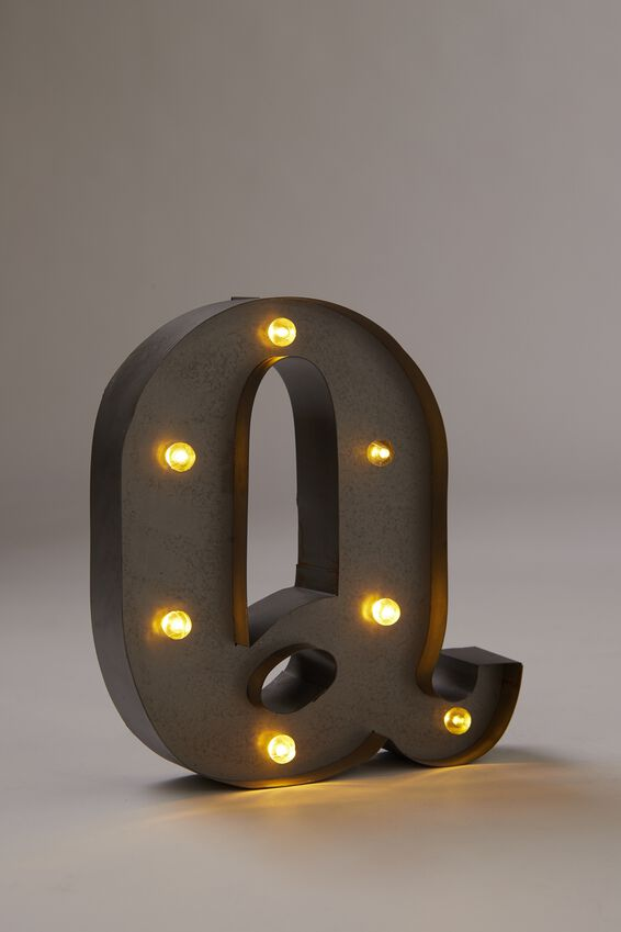 Midi Marquee Letter Lights 6.3inch, SILVER Q