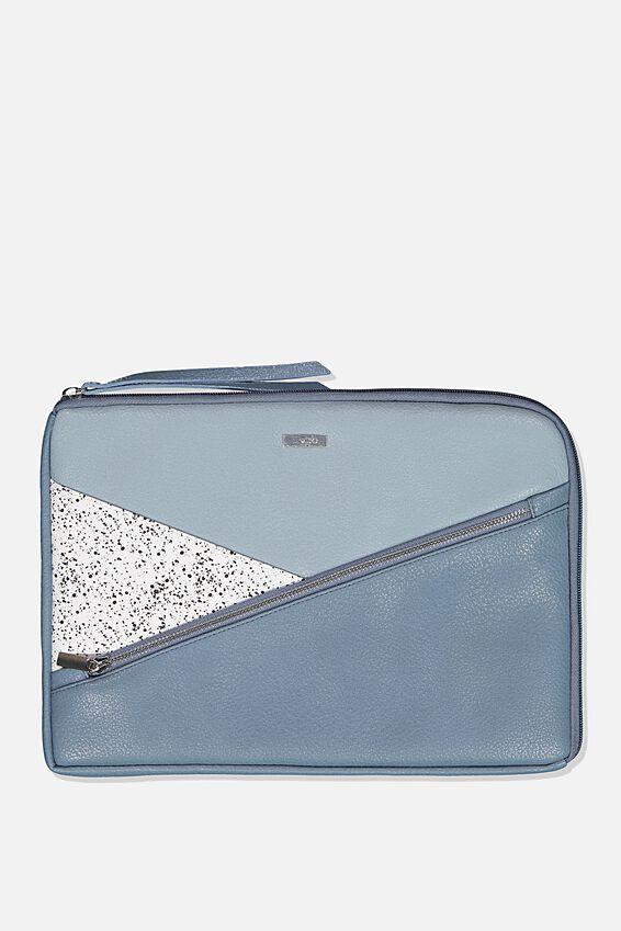 Premium Laptop Case 13 inch, DUSTY & PETROL BLUE WHITE SPLATTER SPLICE