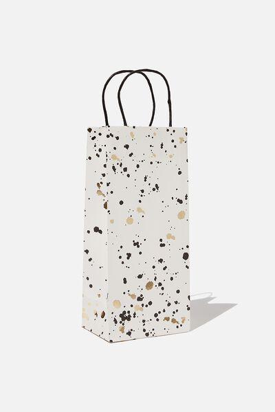 Bottle Gift Bag, WHITE GOLD SPLATTER