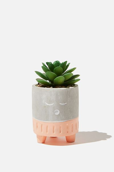 Tiny Planter With Plant, CEMENT & PEACH SLEEPY FACE