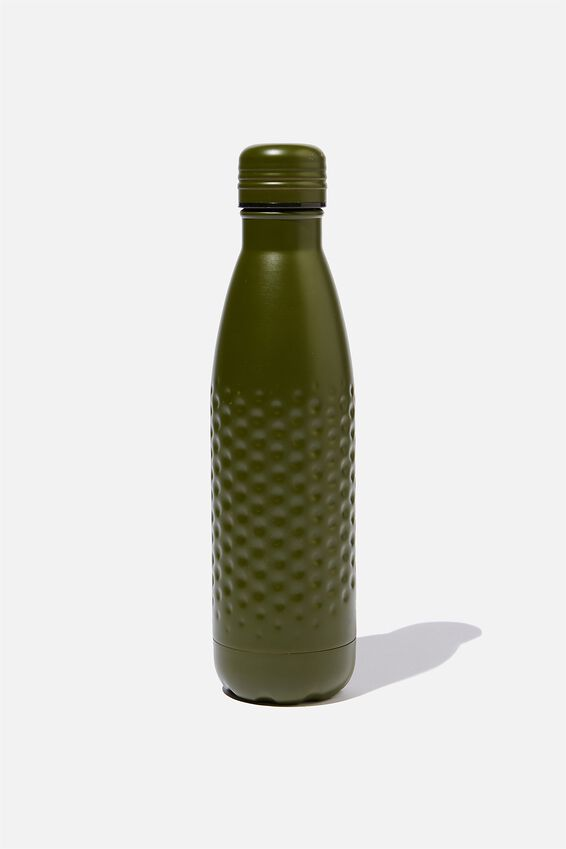 Premium Metal Drink Bottle, MATTE KHAKI HAMMERED