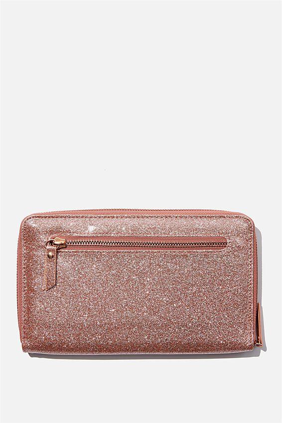 Rfid Odyssey Travel Compendium Wallet, ROSE GOLD GLITTER