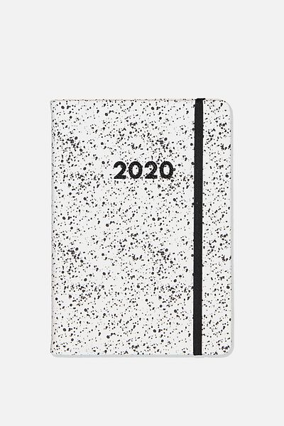 2020 A5 Weekly Buffalo Diary, WHITE SPLATTER