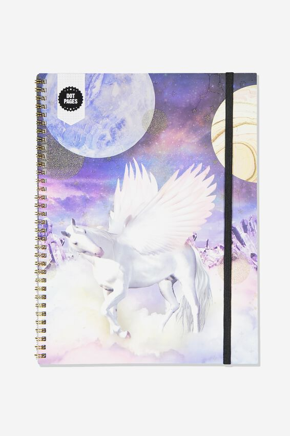 A4 Spinout Notebook Dot Page, BOHO UNICORN