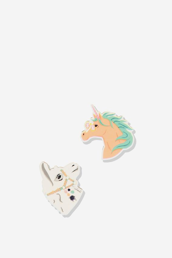 Novelty Eraser Pack, LLAMA UNICORN HEADS