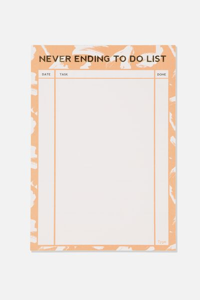 A4 Plan Ahead Planner, NEVER ENDING TO DO PINK