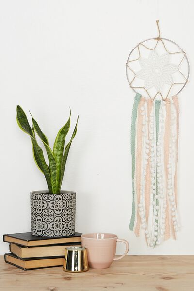 Macrame Dream Catcher Kit, NATURAL PINK GREEN