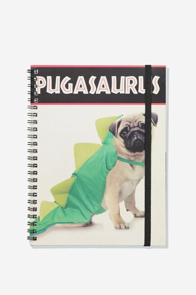 A5 Spinout Notebook - 120 Pages, PUGASAURUS