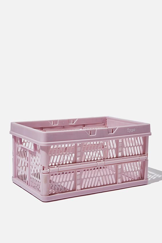 Midi Foldable Storage Crate, HEATHER