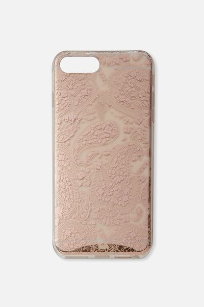 Transparent Phone Cover 6,7,8 Plus, ROSE GOLD LACE