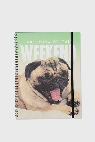 A4 Spinout Notebook Recycled, WEEKEND PUG