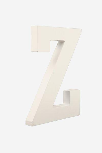 Letterpress Wooden Letter, WHITE Z