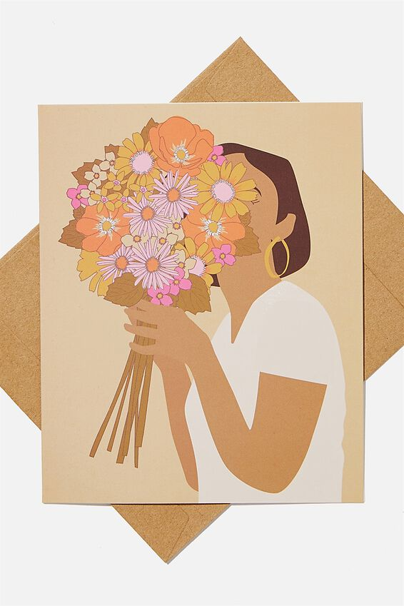 Congratulations Card, FLOWER BUNCH GIRL ILLO