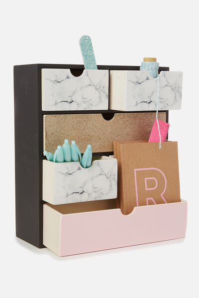 Multi Drawer Storage, MARBLE & ROSE GOLD