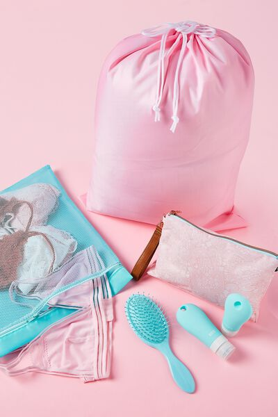 3 Pc Travel Organiser Bags, BLUSH LACE