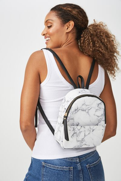 Mini Cairo Backpack, WHITE MARBLE