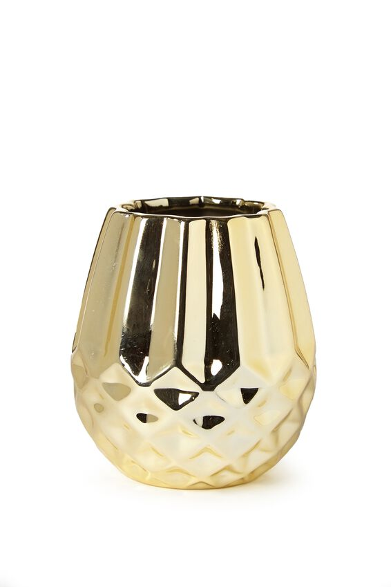 Pen Holder, FACETED GOLD