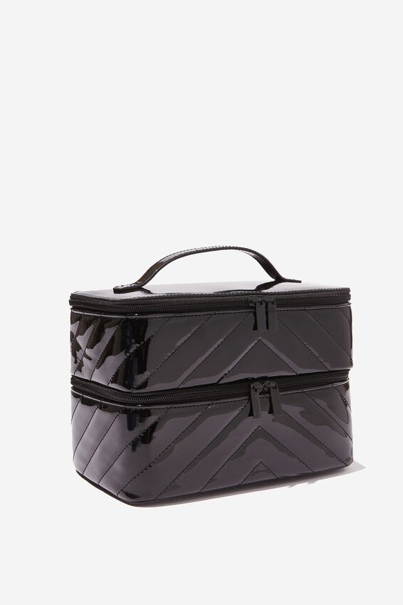 St Tropez Beauty Case, BLACK CHEVRON QUILT